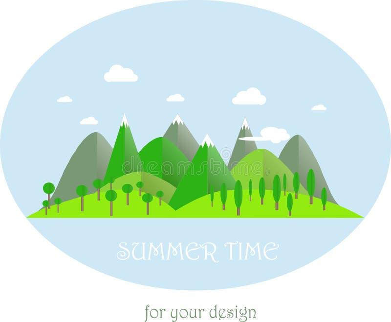 系列四个季节 横向山夏时 现代平的设计,设计元素 向量例证