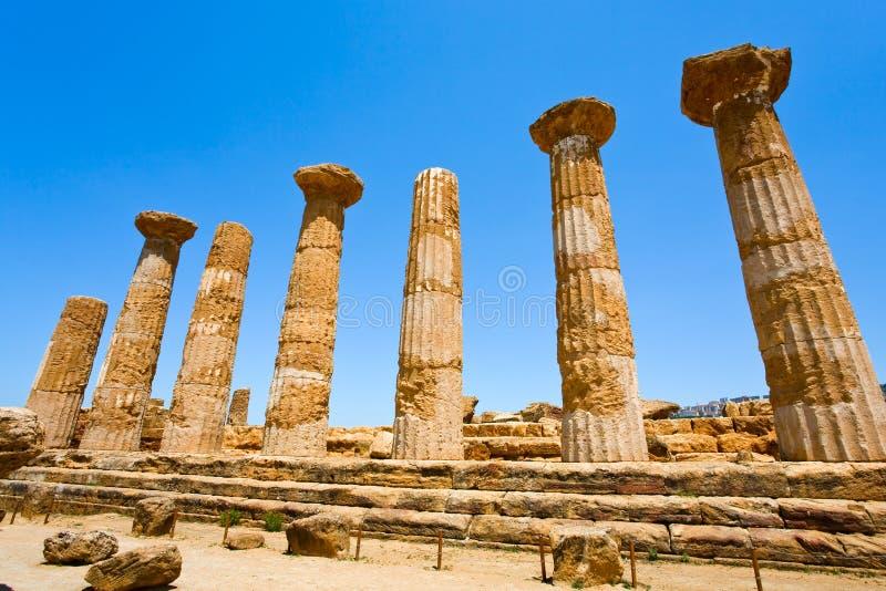 列多利安人的heracles西西里岛寺庙 库存照片