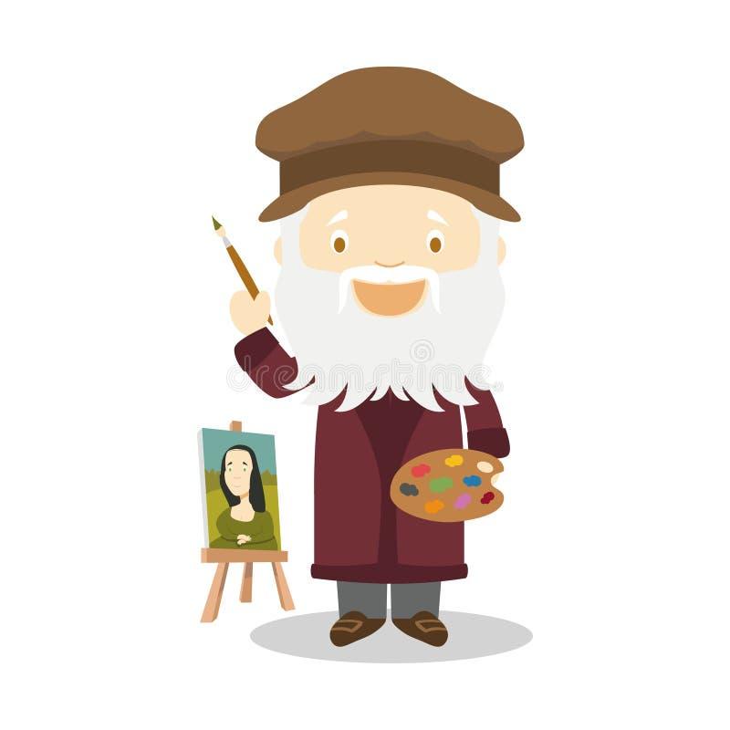 列奥纳多・达・芬奇卡通人物 也corel凹道例证向量 孩子历史汇集 皇族释放例证