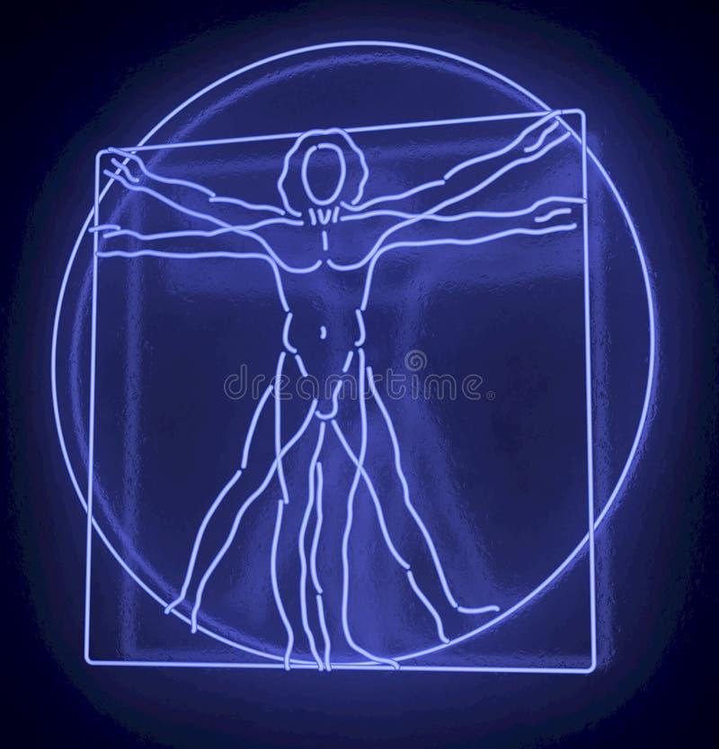 列奥纳多・达・芬奇的一盏蓝色氖灯的Vitruvian人,拉人Quadratus, 3d在黑背景的翻译 向量例证