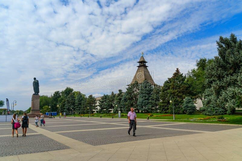列宁广场在阿斯特拉罕 库存照片