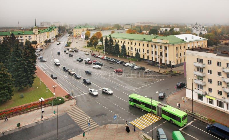 列宁广场在巴拉诺维奇 迟来的 库存照片