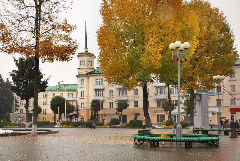 列宁广场在巴拉诺维奇 迟来的 图库摄影