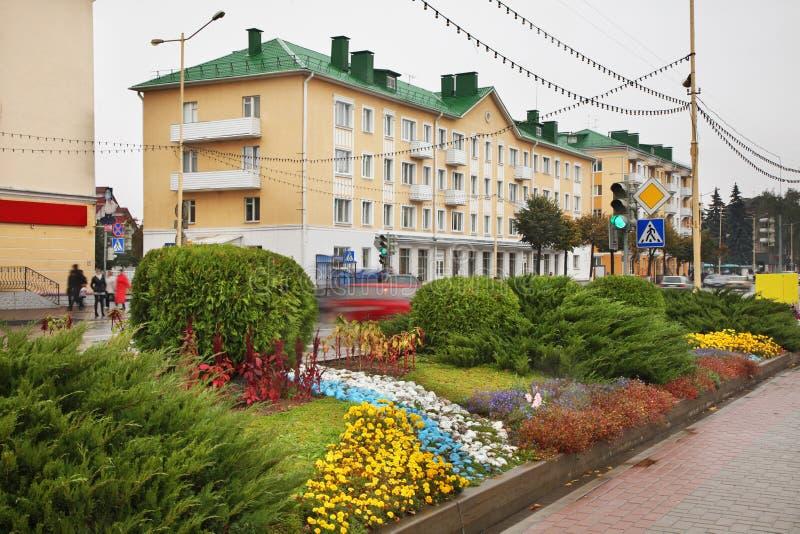 列宁广场在巴拉诺维奇 迟来的 库存图片