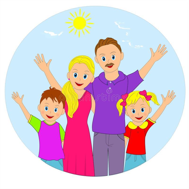 系列愉快的纵向 母亲、父亲和两个孩子 库存例证