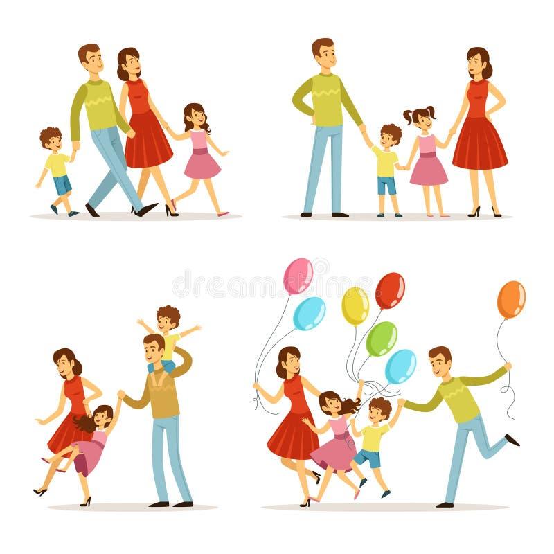 系列愉快的纵向 走在公园的父亲、母亲和孩子 在动画片样式的室外传染媒介例证 向量例证