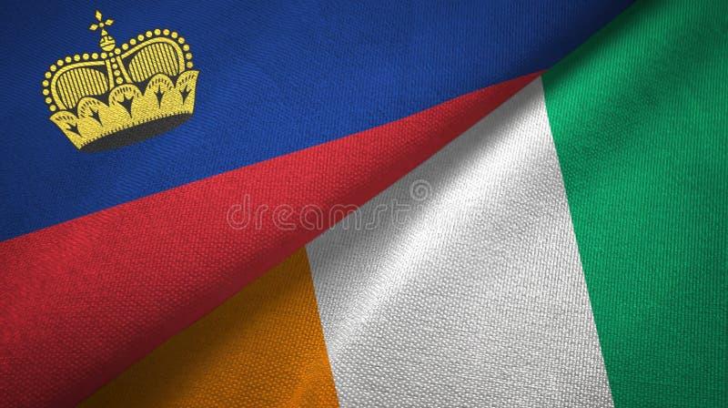 列支敦士登和科特迪瓦象牙海岸两旗子织物纹理 向量例证