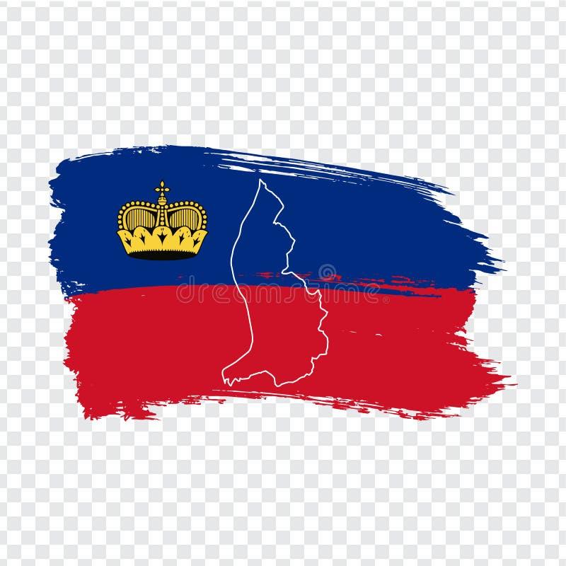 列支敦士登的旗子从刷子冲程和空白的地图列支敦士登的 列支敦士登和旗子的优质地图公国在t 向量例证