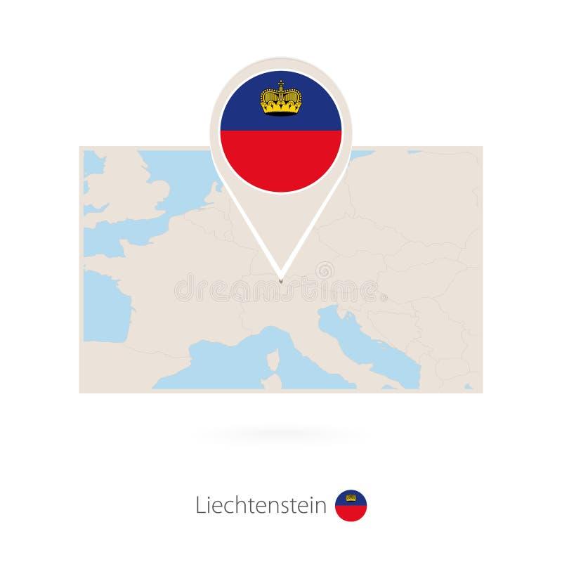 列支敦士登的长方形地图有列支敦士登的别针象的 向量例证