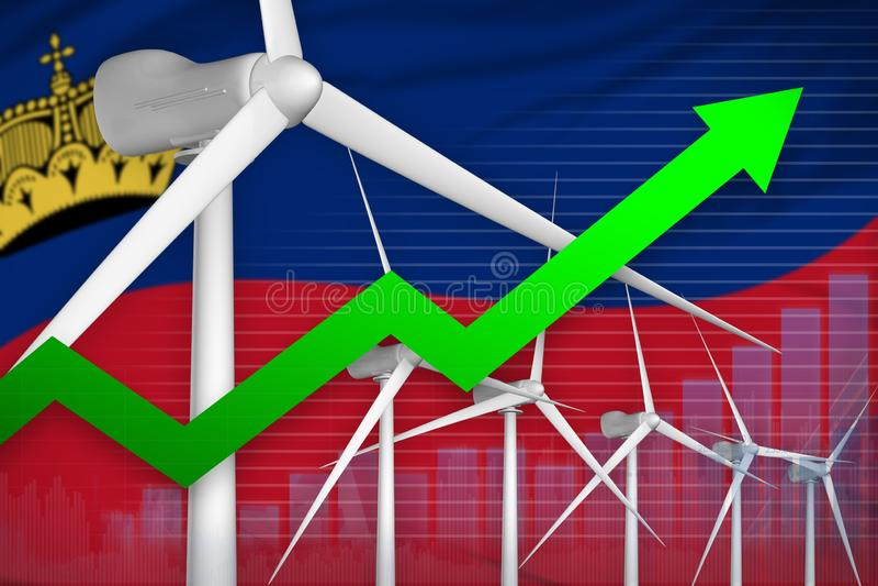 列支敦士登风能力量上升的图,-现代自然能工业例证的箭头 3d?? 向量例证