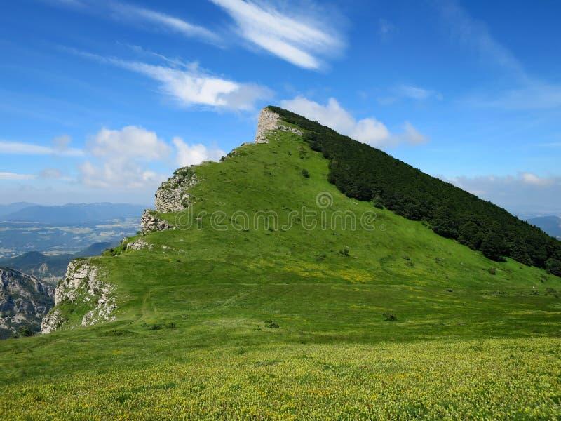列斯Trois Becs的陡峭的高山草甸 免版税库存照片