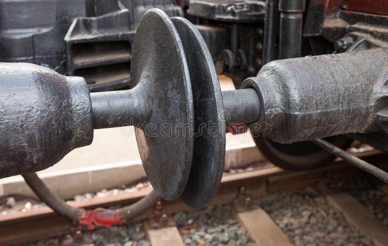 列车车箱耦合装置联接 库存图片