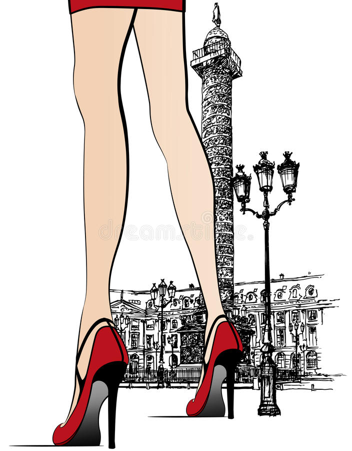 列附近的巴黎vendome妇女 皇族释放例证