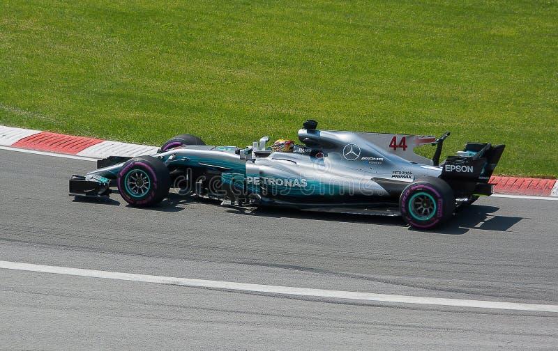 刘易斯・咸美顿赢取2017加拿大人Gran Prix 免版税库存照片