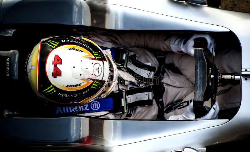 刘易斯・咸美顿(默西迪丝) - F1测试 库存照片