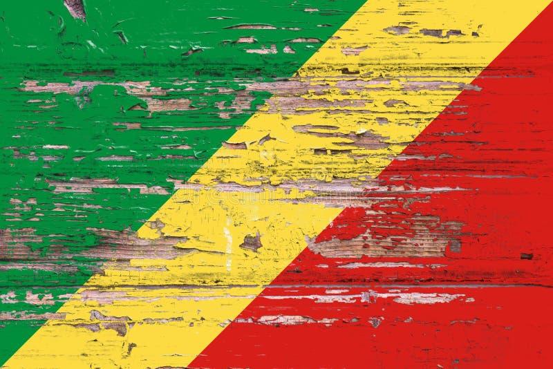 刚果共和国国旗一木backgrou的 库存照片