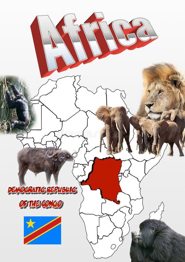 刚果民主共和国地图和旗子与动物 免版税库存图片