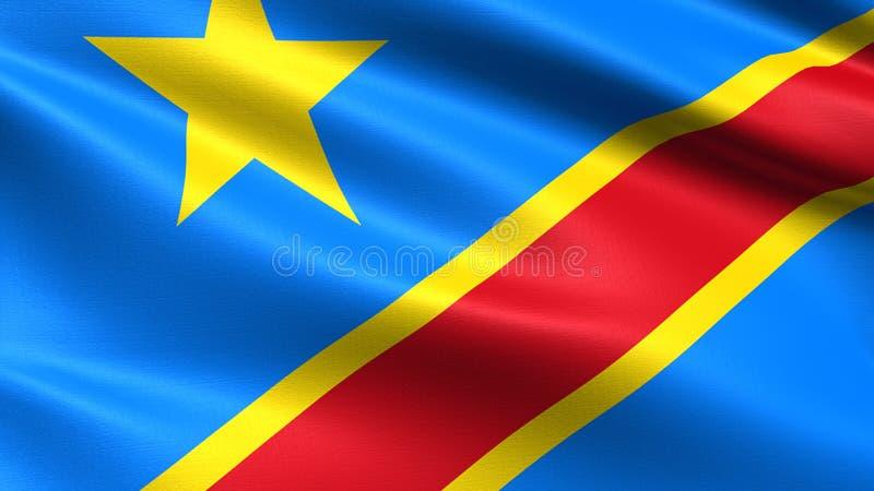 刚果民主共和国旗子,与挥动的织品纹理 皇族释放例证