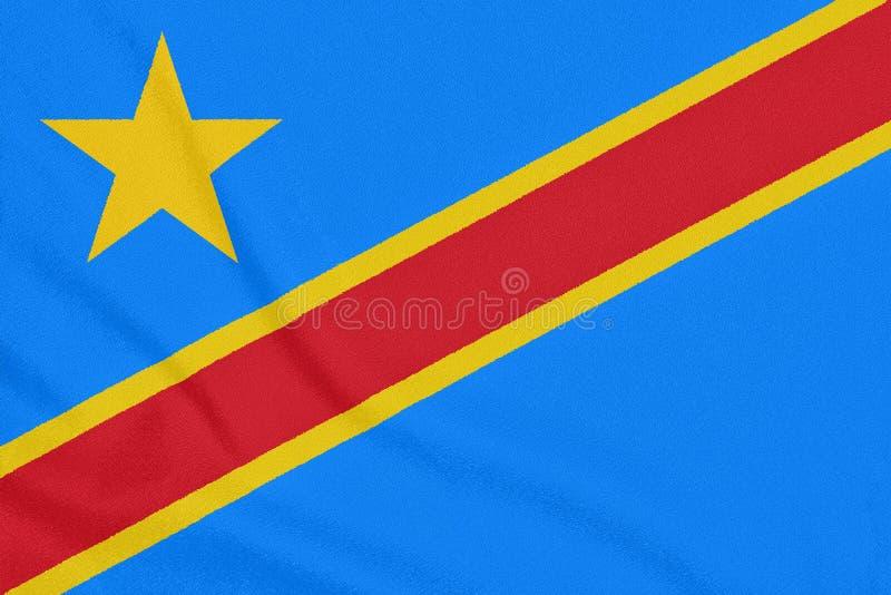 刚果民主共和国的旗子织地不很细织品的 爱国标志 免版税库存照片