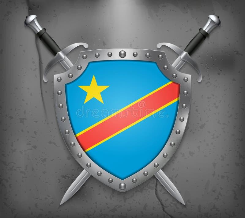 刚果民主共和国的旗子 有国旗的盾 两把横渡的剑 background medieval 库存例证