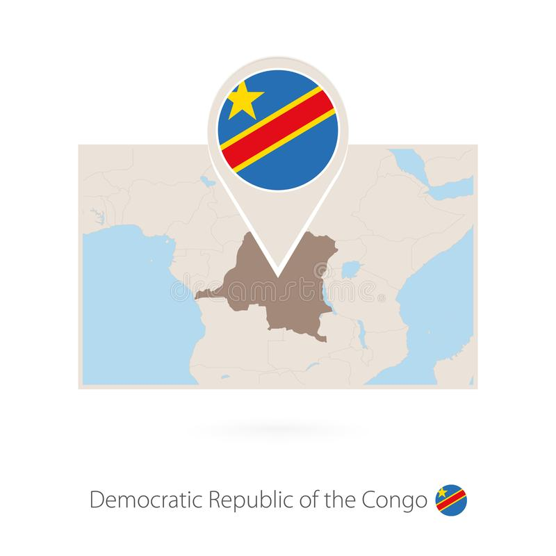 刚果民主共和国的长方形地图有DR刚果别针象的  向量例证