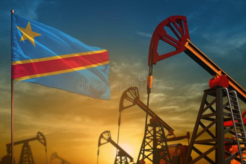 刚果民主共和国石油工业概念 工业例证-刚果民主共和国旗子和油井 皇族释放例证