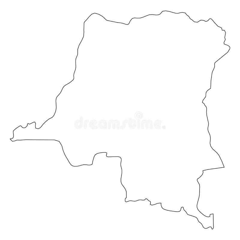 刚果民主共和国-国家区域坚实黑概述边界地图  简单的平的传染媒介例证 库存例证