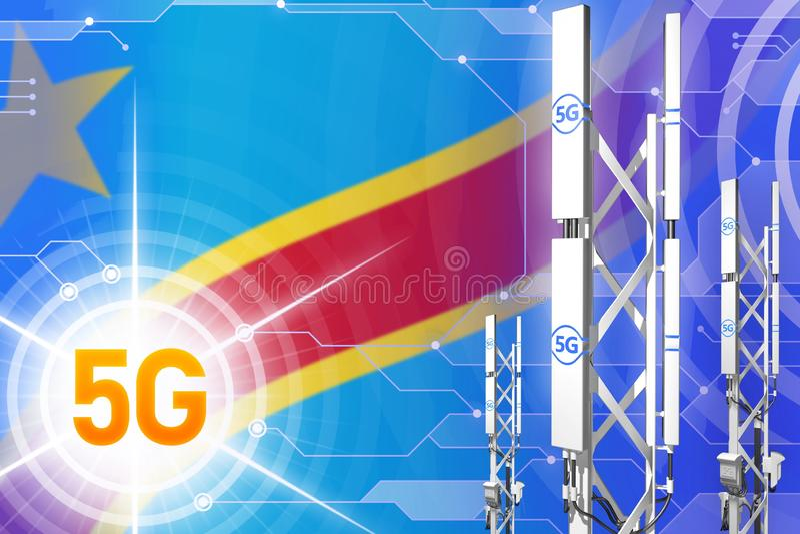 刚果民主共和国5G工业例证、大多孔的网络帆柱或者塔在数字背景与旗子- 库存例证