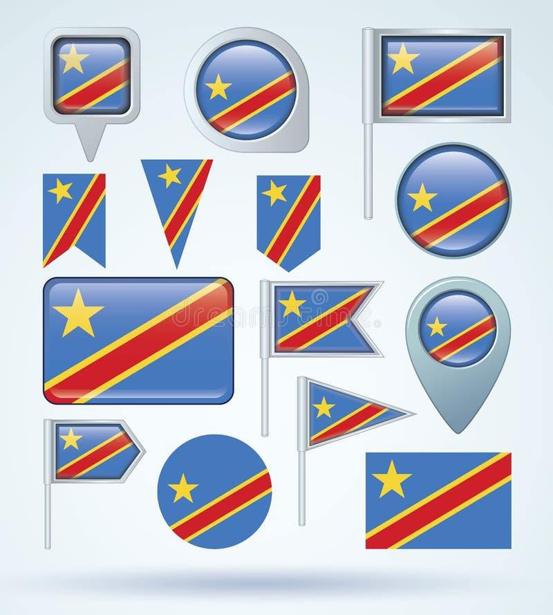 刚果民主共和国的旗子,传染媒介例证 向量例证