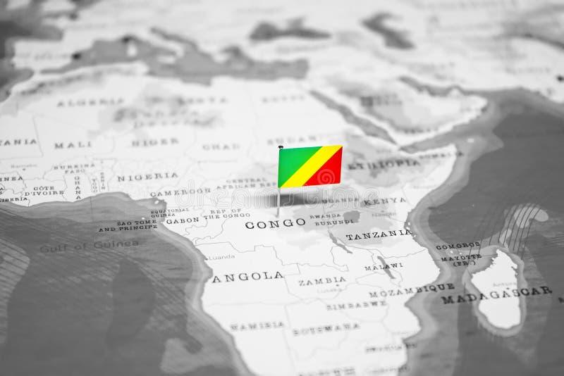 刚果的旗子世界地图的 图库摄影