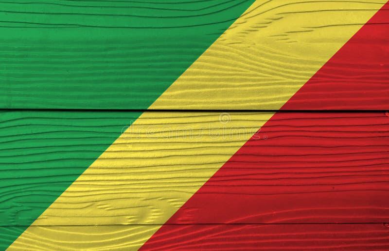 刚果的旗子木墙壁背景的 难看的东西刚果旗子纹理 库存照片