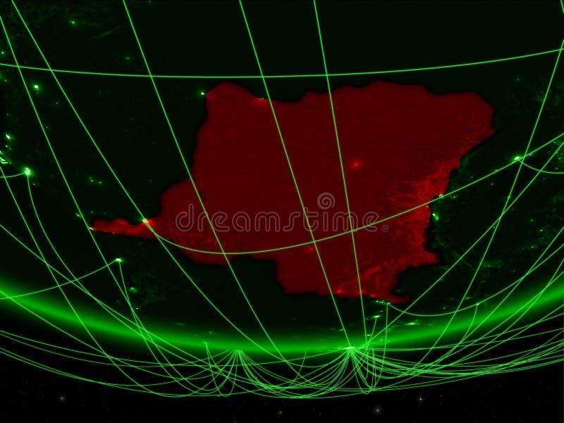 刚果的Dem Rep从空间的与网络 图库摄影