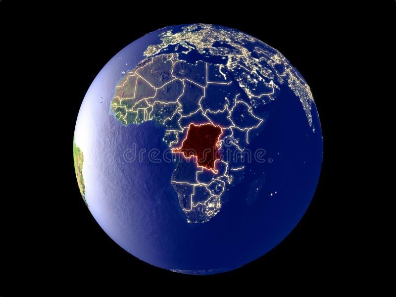 刚果的Dem Rep地球上的从空间 免版税库存图片