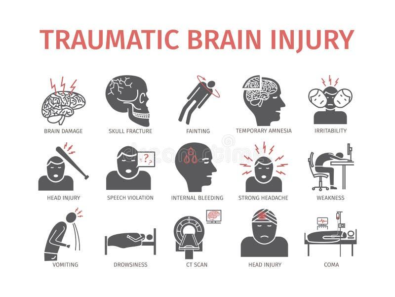 创伤脑伤平的象 头部受伤治疗 网图表的传染媒介标志 皇族释放例证