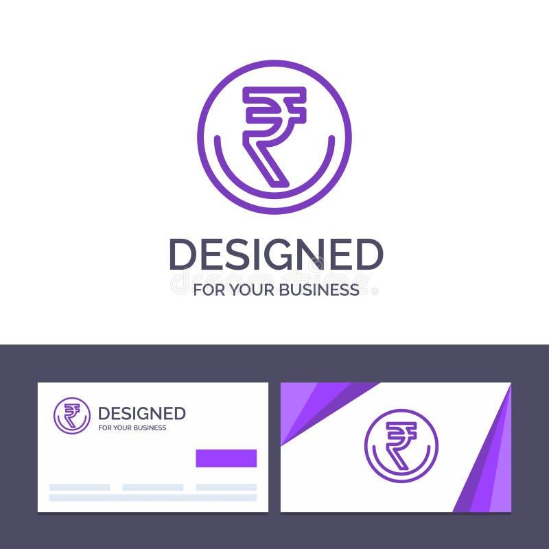 创意名片和徽标模板业务、货币、金融、印度、印度卢比、卢比、贸易矢量图示 向量例证