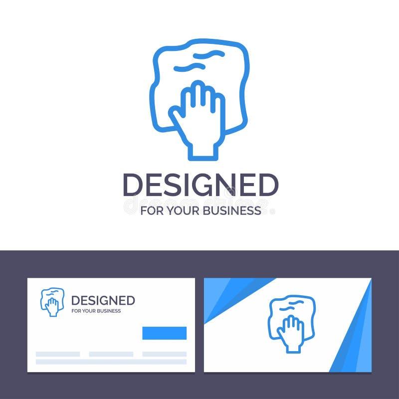 创意名片和徽标模板清洗、手、家务、擦洗、擦洗矢量图解 库存例证