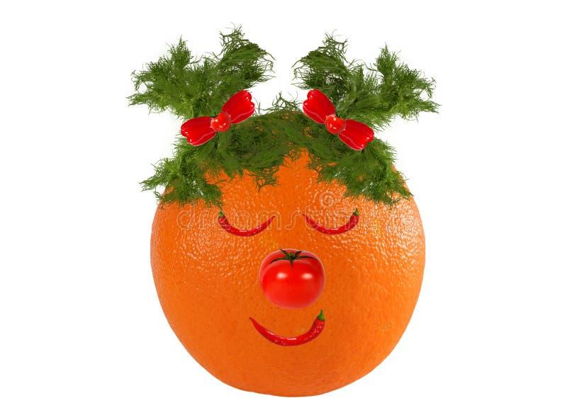 创意食品概念 用橙子、蔬菜和水果做的滑稽肖像 库存图片