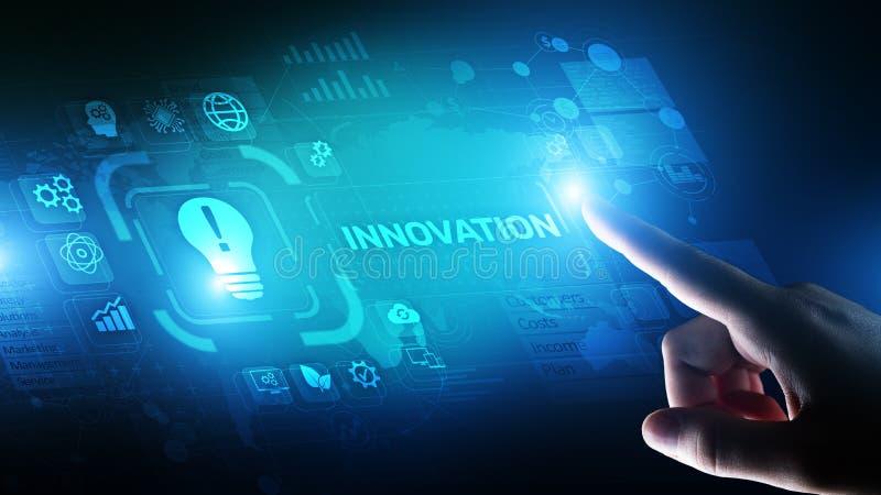 创新事务和技术概念在虚屏上 创新创造性的过程 向量例证