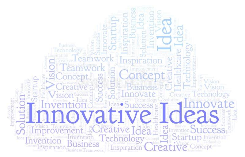 创新想法措辞云彩,做用仅文本 库存例证