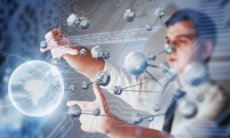 创新技术在科学和医学 连接的技术 拿着发光的行星地球 图库摄影