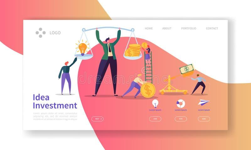 创新投资着陆页 投资在与平的人字符攒钱网站模板的想法横幅 皇族释放例证