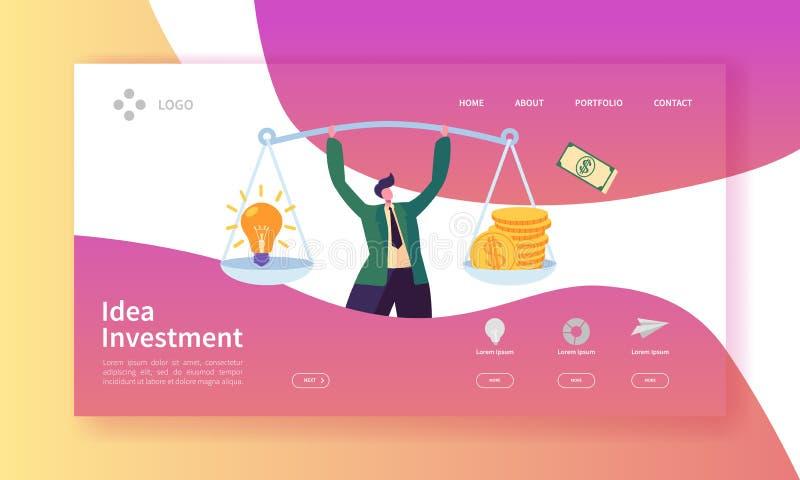 创新投资着陆页 投资在与平的人字符的想法与金钱和电灯泡的横幅和重量 皇族释放例证