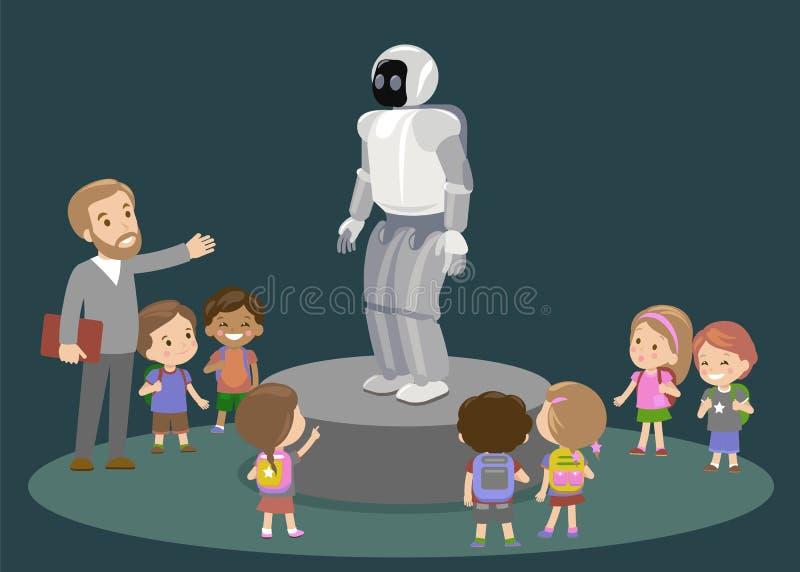 创新教育小学学习技术和人概念-看对碳机器人的小组孩子 向量例证