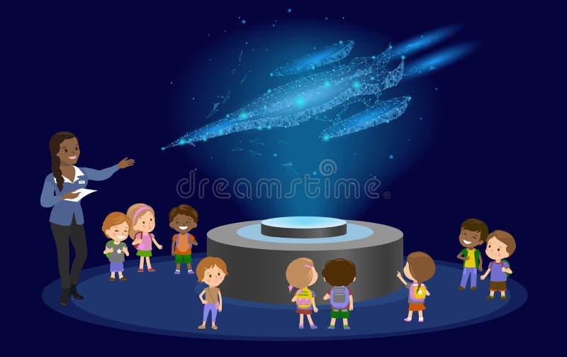 创新教育小学非洲棕色皮肤黑发小组孩子天文馆科学在空间的太空飞船全息图 皇族释放例证