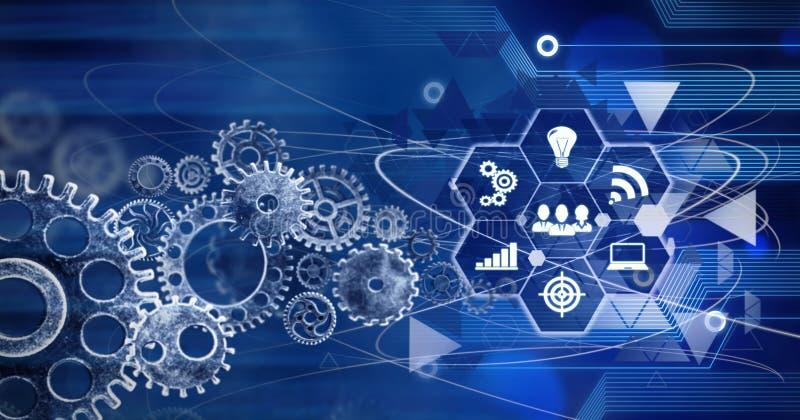 创新计算机数据嵌齿轮技术,训练,企业概念ideea背景conection 皇族释放例证