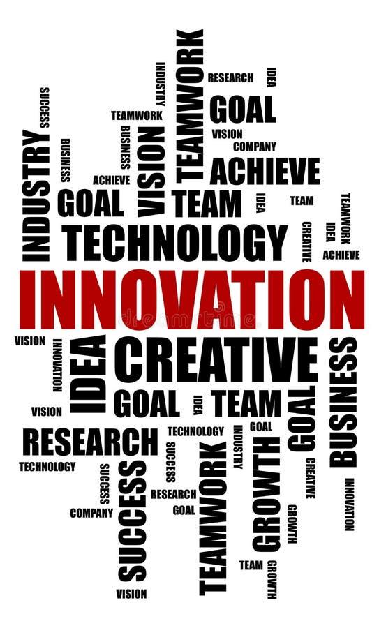 创新词在白色背景的云彩概念 向量例证