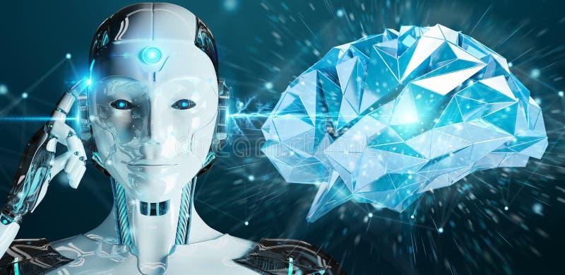 创造人工智能3d renderi的白人妇女类人动物
