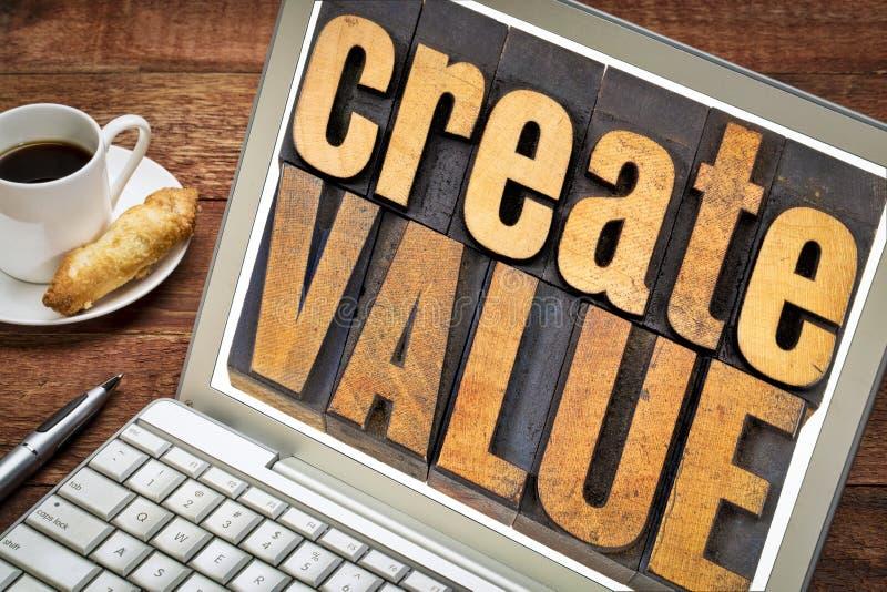 创造价值木头印刷术 库存图片