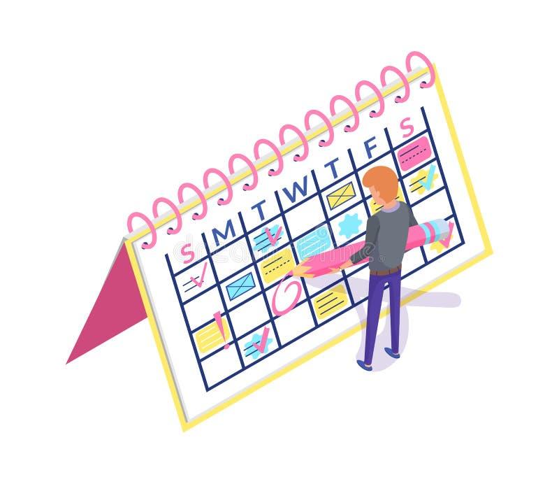 创造任命的日历计划者和人 向量例证