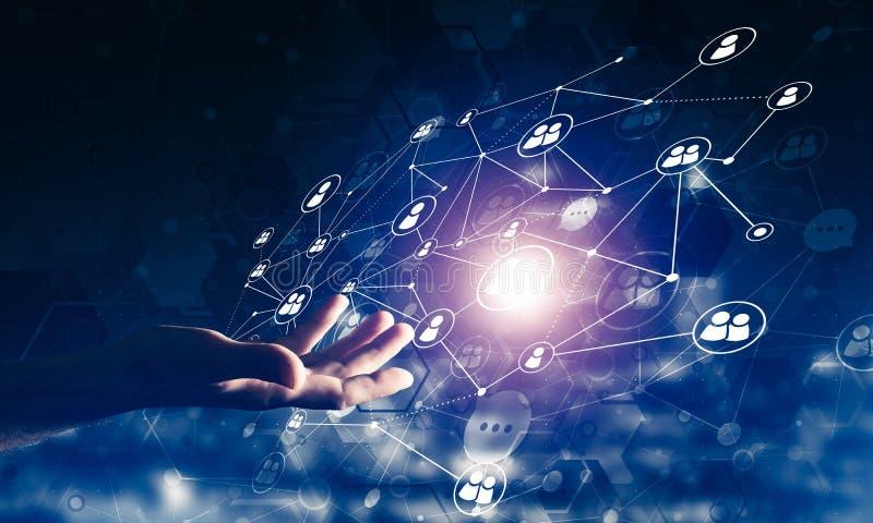 创造作为communucation和网络手段的现代无线技术在黑暗的背景 向量例证